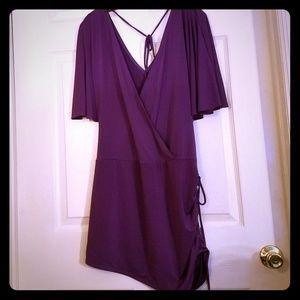 Plum plunging v neck mini dress/top. Never worn.